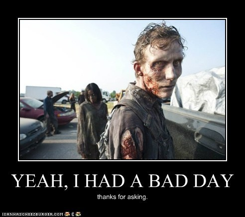 asking,bad day,sarcasm,thanks,The Walking Dead,zombie