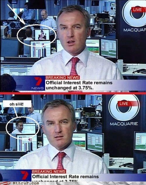 Breaking News,busted at work,live news,live news fail,live tv,macquarie,monday thru friday,news fail,photobomb