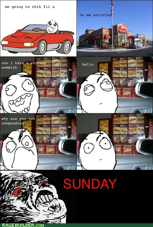 chick fil-a,drive thru,Rage Comics,raisin rage,sunday