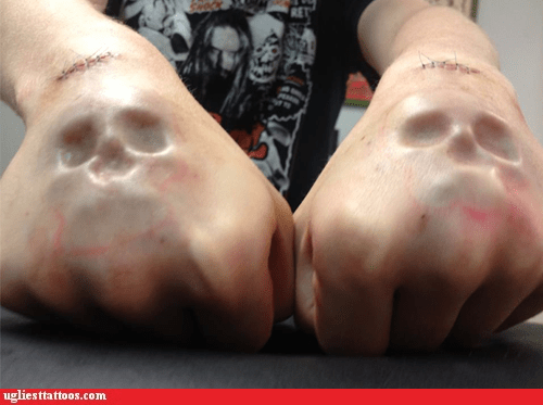 body modification g rated Hall of Fame knuckles skulls Ugliest Tattoos - 6410948864