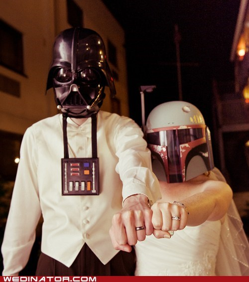 boba fett,darth vader,funny wedding photos,geek,star wars