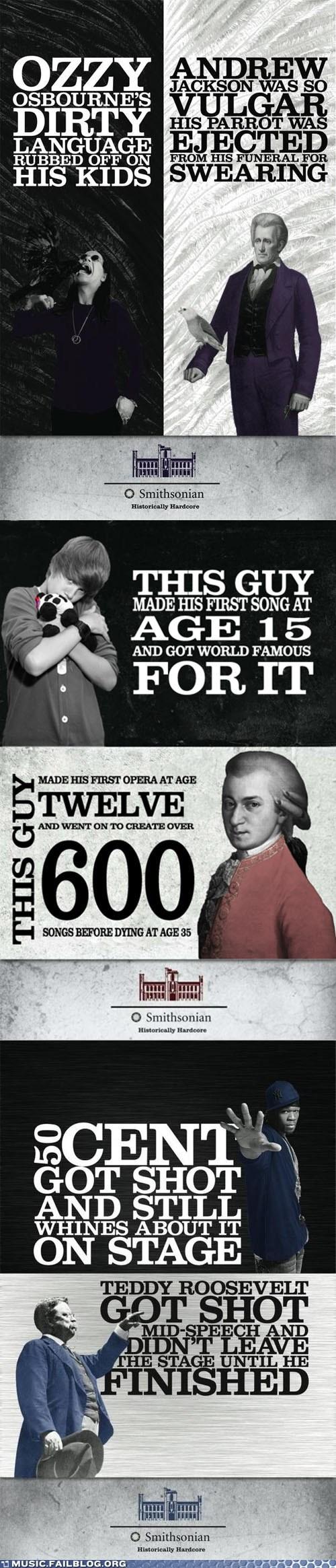 50 cent Andrew Jackson black sabbath history justin bieber mozart Ozzy Osbourne Smithsonian teddy roosevelt - 6411164928