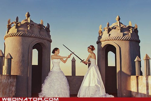brides,fight,funny wedding photos,swords