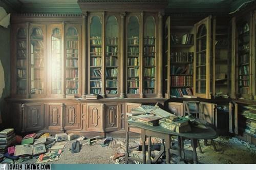 abandoned bookcase books old shelves - 6411290880