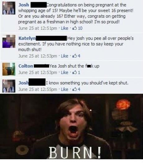 burn,facebook,kelso,teen pregnancy