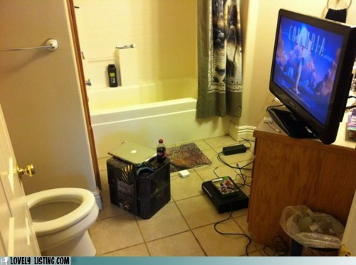 bathroom computer gross TV video games
