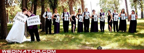 funny wedding photos gay marriage signs - 6411497472