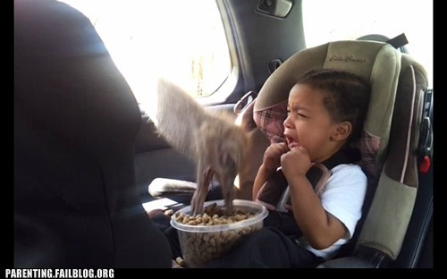 car seat cereal feeding animals g rated ostrich Parenting FAILS petting zoo