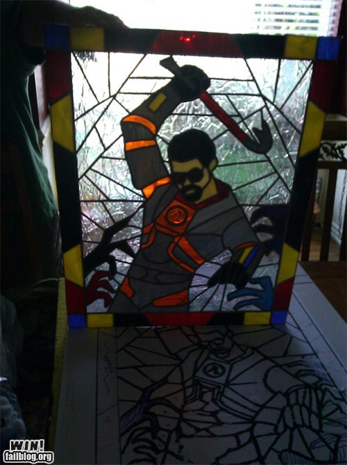 gordon freeman half life nerdgasm stained glass video games - 6412311808