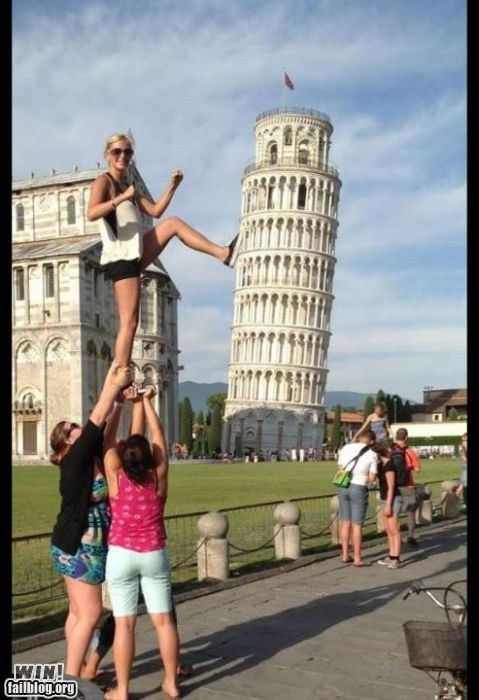 illusion leaning tower of pisa photo op tourist - 6412433664