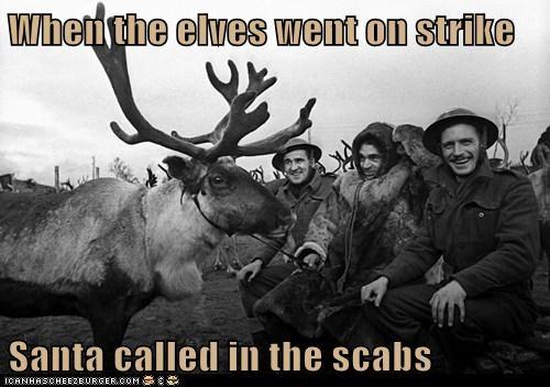 elves reindeer santa scabs