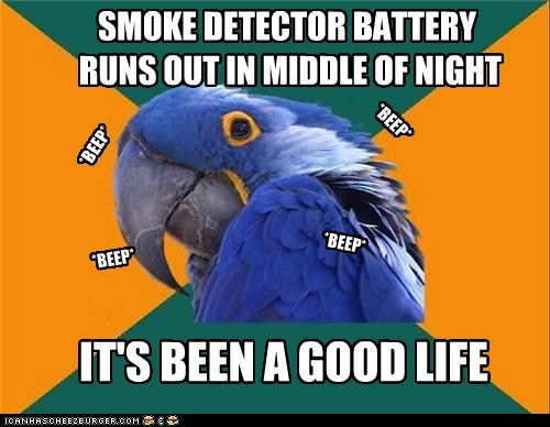 Smoke Detector Battery Runs Out In Middle Of Night Cheezburger
