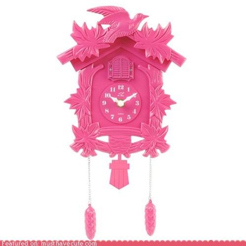clock,cuckoo,fancy,pink,plastic