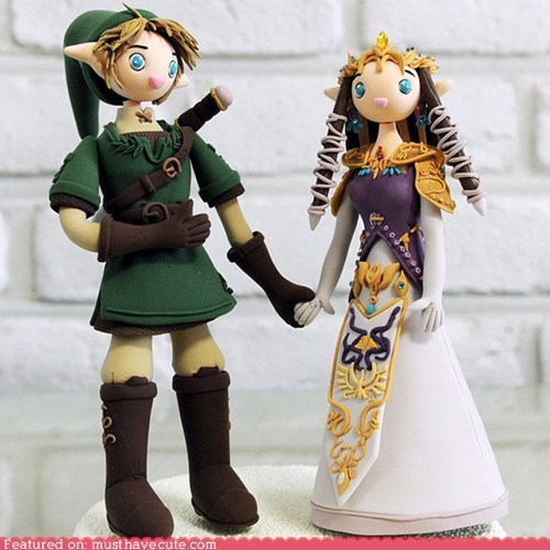 adorable cake topper link sculpture wedding zelda