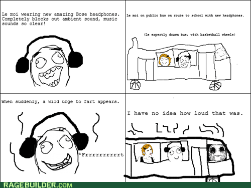 farts,headphones,public transportation,Rage Comics