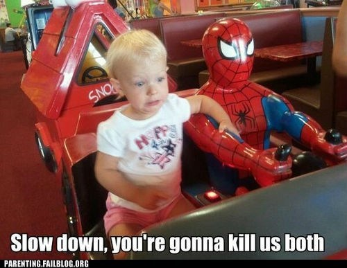 driving g rated Parenting FAILS slow down Spider-Man toddler - 6413704960