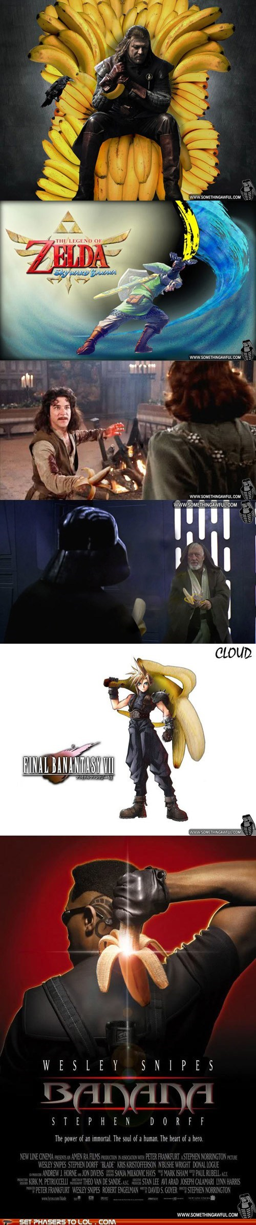bananas,blade,cloud,Eddard Stark,final fantasy VII,Game of Thrones,link,photoshop,sean bean,silly,Skyward Sword,star wars,the princess bride,zelda