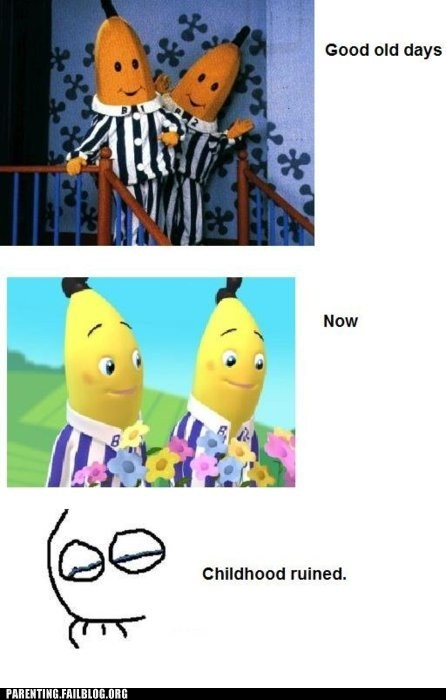 bananas in pajamas,childhood ruined,then and ow