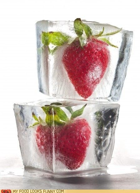 frozen fruit ice ice cube strawberry