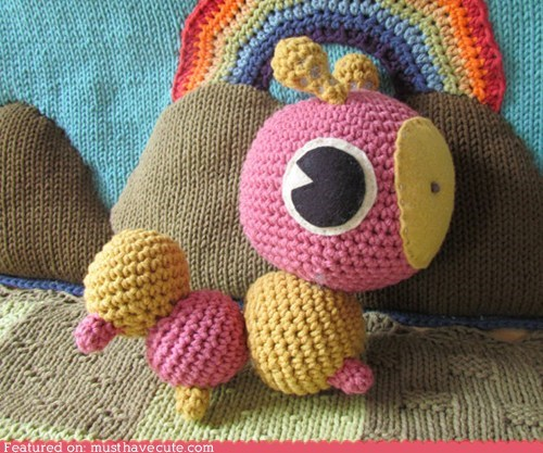 Amigurumi caterpillar Crocheted pink Plush yellow - 6414300672