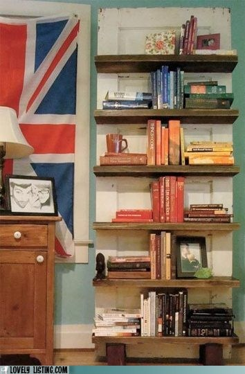 bookcase,decor,door,repurposed,shelves,silly
