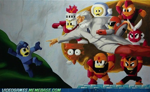 art,creation of adam,dr-light,mega man