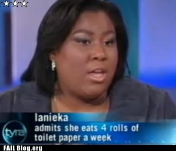 eating,toilet paper,tv caption,Tyra Banks