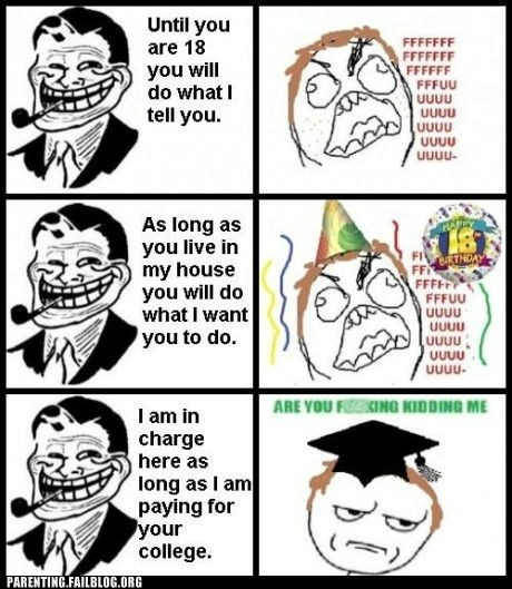 18th birthday college Rage Comics troll dad