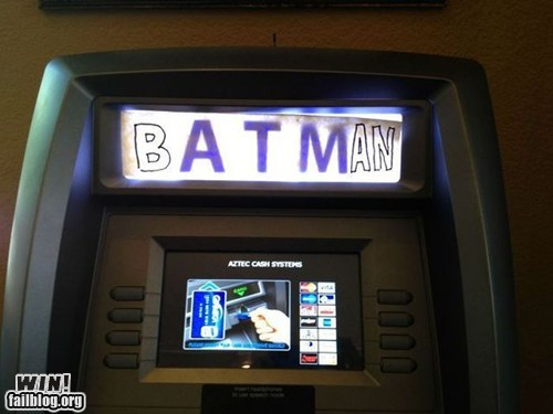 ATM,batman,comic books,hacked,super heroes