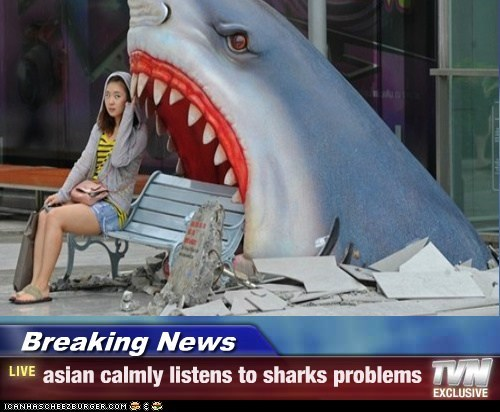Breaking News - asian calmly listens to sharks problems