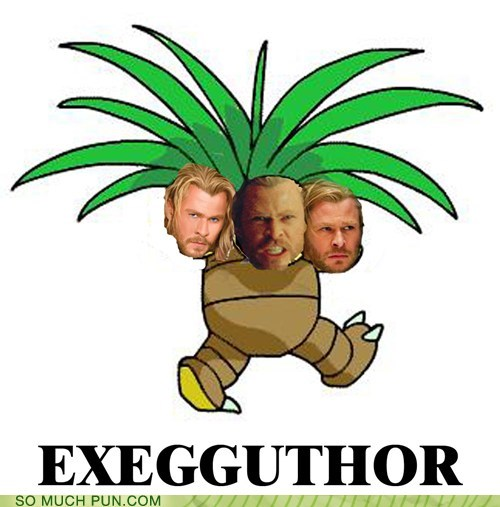 Exeggutor,face,literalism,Pokémon,shoop,similar sounding,suffix,Thor
