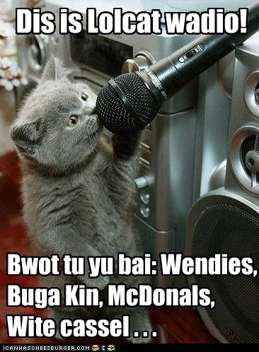 captions Cats dj fast food listen Music radio sponsored
