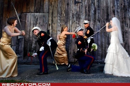 bride,bridesmaids,fight,funny wedding photos,marines