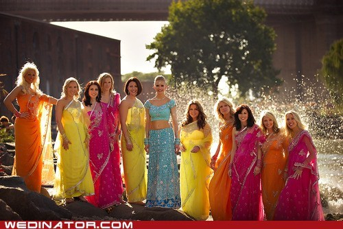 bride,bridesmaids,funny wedding photos,sari