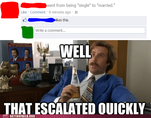facebook married relationship status single that escalated quickly
