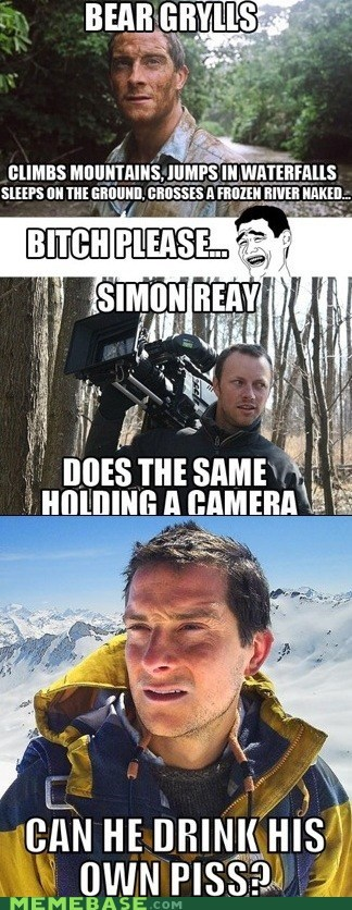 bear grylls,camera,pee,simon