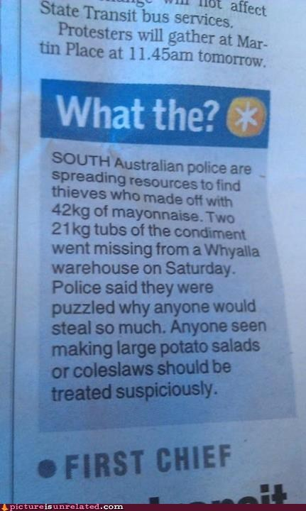 australia,mayonnaise,news,potato salad,thief,wtf