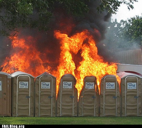 fire,melting,porta potty