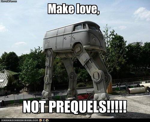 at-at walker,george lucas,hippies,make love not war,prequels,star wars,vw bus