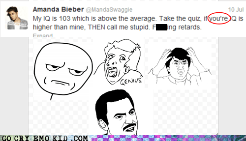 amanda bieber cant tell if trolling dumb facepalm genius grammar issues twitter weird kid
