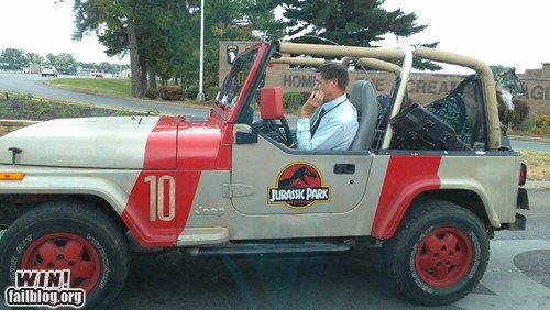 car,commute,jeep,jurassic park,nerdgasm