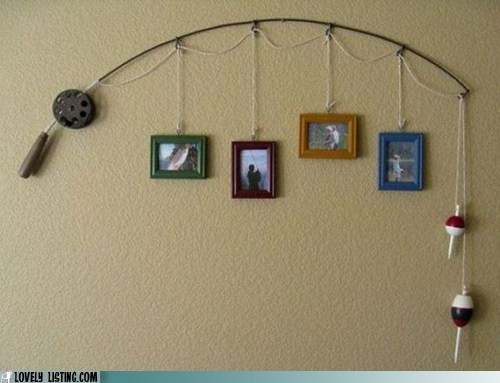 art fishing pole frames wall