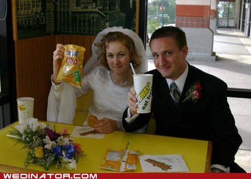 bride,fast food,funny wedding photos,groom,Subway