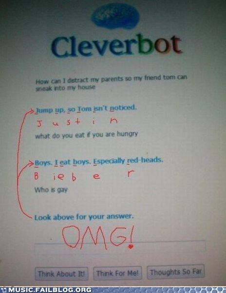 Cleverbot conspiracy justin bieber - 6418300928