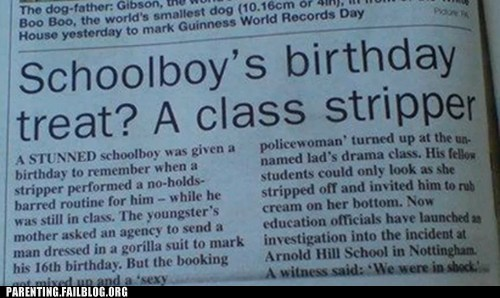 birthday,classroom,newspaper,school,stripper