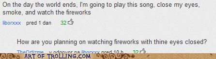 eyes closed,fireworks,snark,youtube