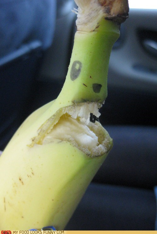 banana bite eyes face mouth peel