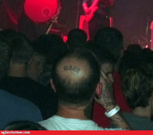 bald spot g rated hair head tattoos Ugliest Tattoos - 6419479552