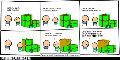 birthday,boxes,comic,cyanide & happiness,cyanide-happiness,fatherson,turning 18