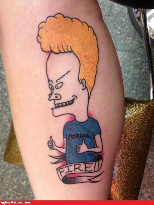 beavis and butthead fire leg tattoos